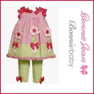NWT Bonnie Baby Pink & Green Searsucker Capri Set